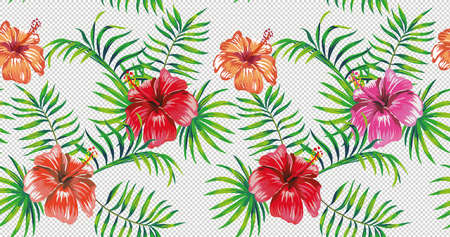 Beautiful 4k summer wallpaper seamless version green tropical foliage and multicolor flowers hibiscus. Can be used with different color backgrounds.