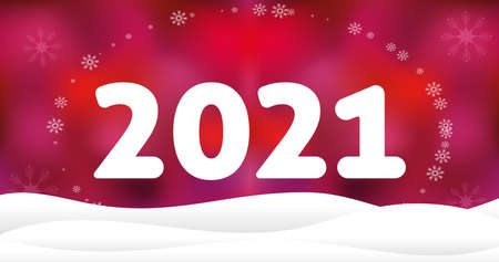 2021 christmas wallpaper with snowdrift and snowflakes on red background. 4K resolution