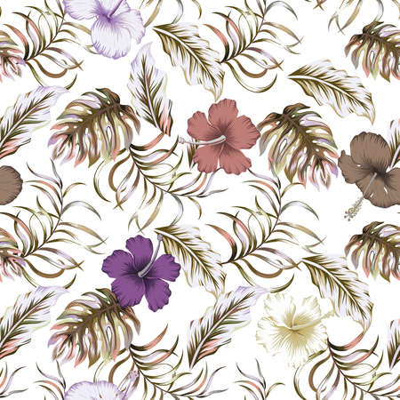 Abstract multicolor color floral illustration, vector tropical leaves and hibiscus flowers seamless pattern on white background
