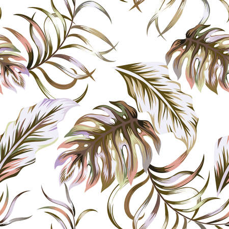 Abstract multicolor color floral illustration, vector tropical leaves, scattered foliage seamless pattern on white background