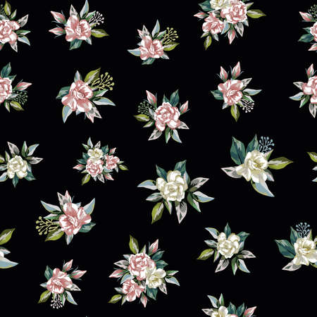Rose flowers bouquet with green leaves seamless pattern on black background 向量圖像