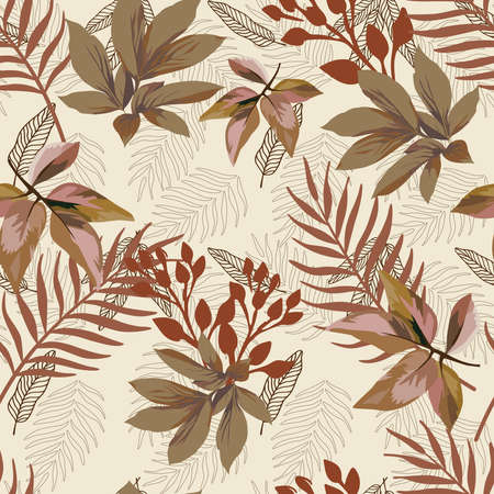 Brown autumn color vector scattered foliage seamless pattern on white background