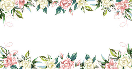 Delicate beautiful floral frame pink and cream flowers roses white background with vignettes