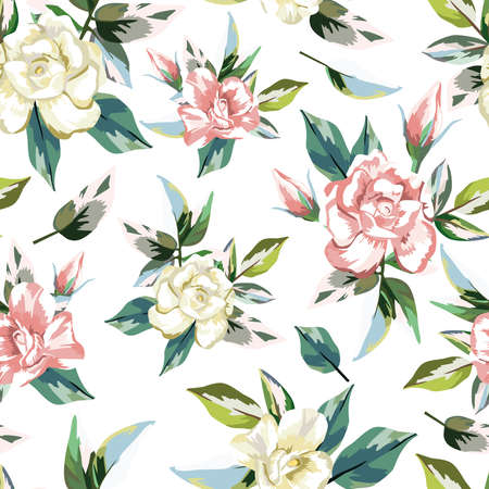 Rose flowers bouquet with green leaves seamless pattern on white background