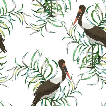 Beautiful exotic bird Stork on the background of tropical leaves seamless vector pattern white wallpaper
