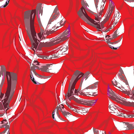 Abstract color tropical exotic leaves monstera, modern foliage illustration seamless vector pattern on red background Illusztráció