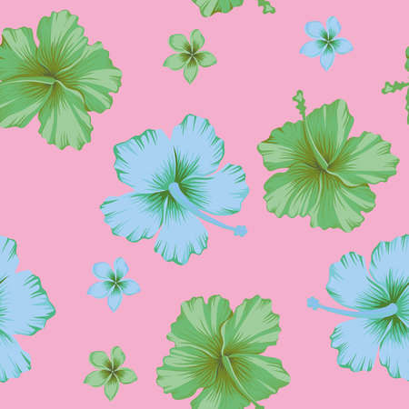 Abstract beach cheerful color green and blue hibiscus and frangipani tropical flowers seamless vector pattern on pink background 向量圖像