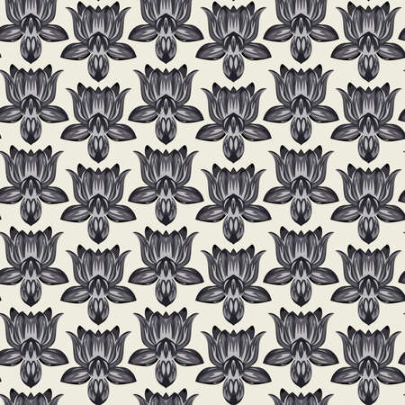 Print summer trendy exotic abstract grayscale color symmetric lotus flowers seamless vector pattern on white background. Contemporary tropic creative wallpaper