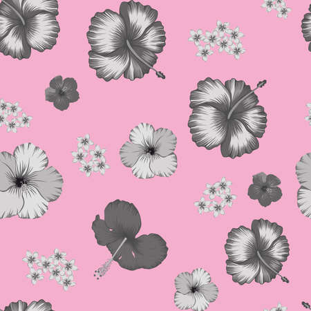 Abstract beach cheerful grayscale hibiscus and frangipani tropical flowers seamless vector pattern on pink background