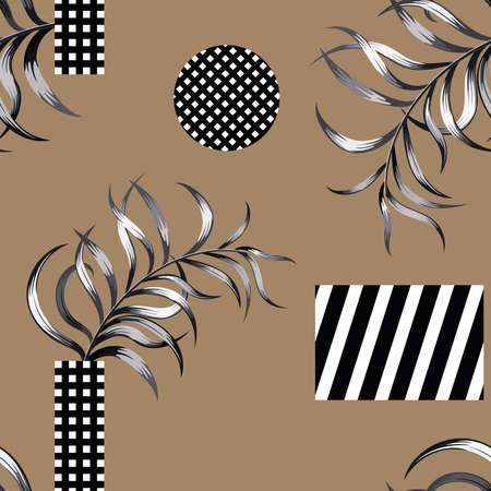 Print summer exotic abstract geometric black white figure circle and rectangle with tropical palm branch seamless vector pattern on brown background