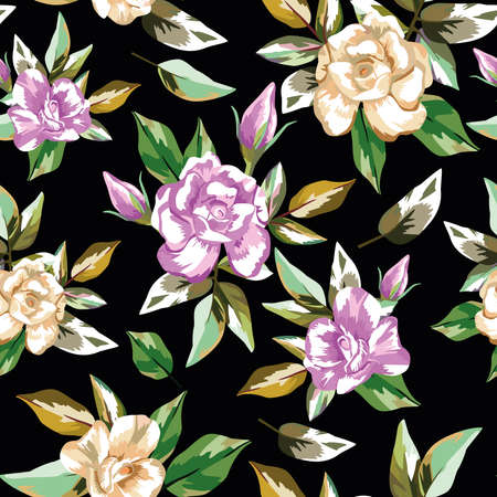 Print summer trendy abstract color beautiful rose flowers with green leaves seamless vector pattern on black background. Contemporary floral creative wallpaper 向量圖像