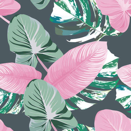Print summer trendy exotic abstract pink color tropical leaves with green marble monstera leaf seamless vector pattern on gray background. Contemporary tropic creative wallpaper 向量圖像