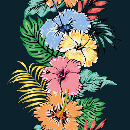 Vivid summer illustration cartoon vector style seamless ribbon pattern hibiscus flowers and tropical leaves on black background