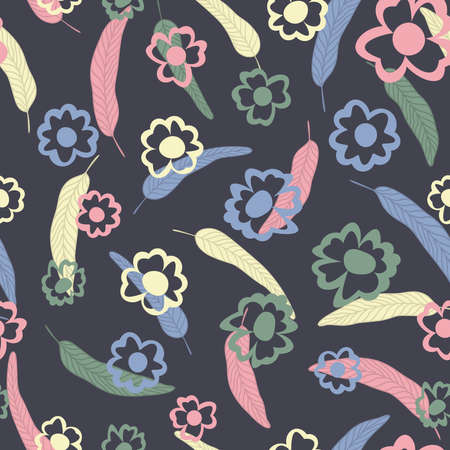 Summer illustration cartoon vector style seamless pattern hand drawn multicolor flowers leaves on gray background