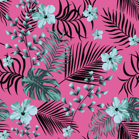 Exotic abstract blue hibiscus flowers and tropical leaves seamless vector pattern on pink background 向量圖像