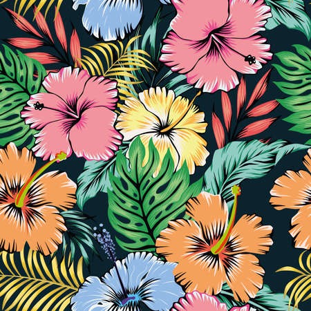 Vivid summer illustration cartoon vector style seamless pattern hibiscus flowers and tropical leaves on black background