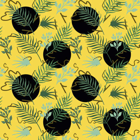 Exotic tropical vector leaves, foliage on round numeral seamless yellow background. Abstract pattern vivid wallpaper 向量圖像