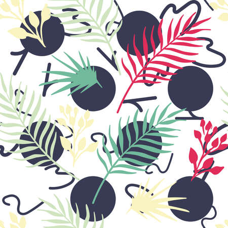 Exotic tropical vector leaves, foliage on round numeral seamless white background. Abstract pattern vivid wallpaper