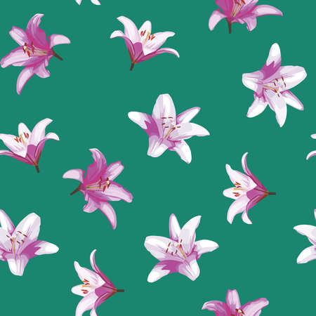 Beautiful vector lily flowers seamless pattern on green background