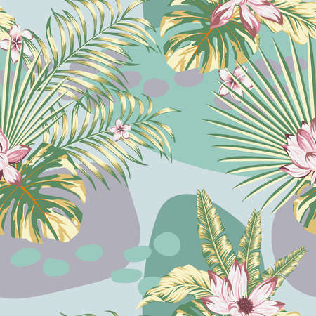 Summer exotic floral tropical palm, banana leaves in green style. Pattern vector seamless on the green gray abstract background. Plant flower nature wallpaper 向量圖像