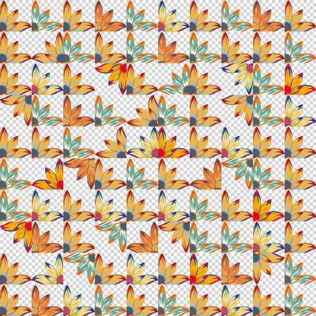 Patchwork design vivid flowers seamless pattern. Vector patchwork on transparent background 向量圖像