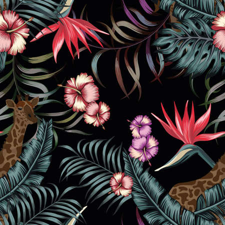 Exotic tropical plants and flowers in the jungle night with giraffe. Seamless vector illustration pattern on a black background palm leaves in trendy blue style