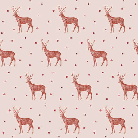 Christmas vector hand drawn wild animal deer illustration beautiful pattern seamless