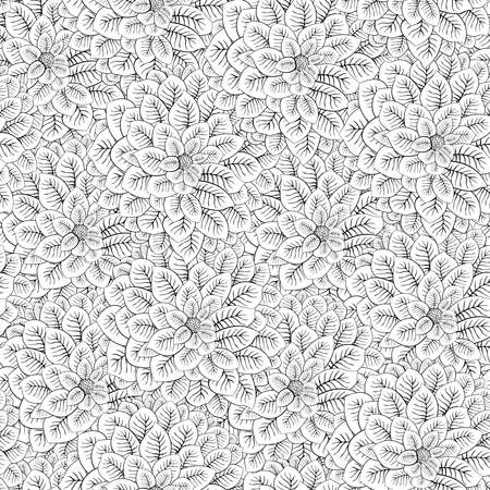 Outline black hand drawn flowers seamless pattern on white background