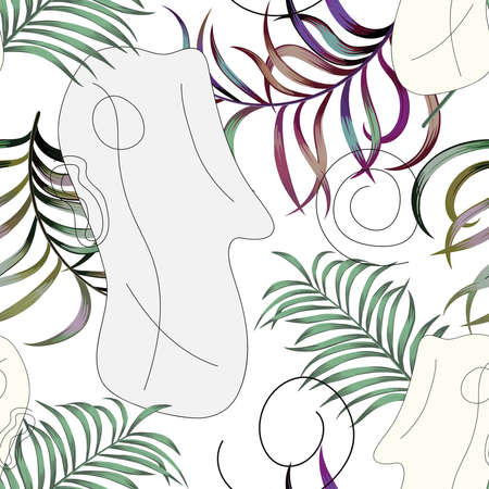 Flat portrait a young human face with tropical plants in a minimalist, abstract trendy style on a white background for contemporary beauty fashion concept.