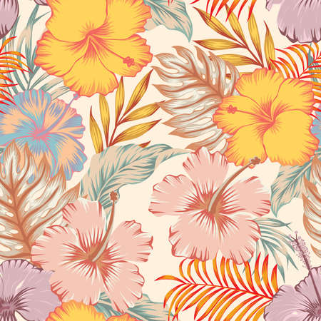 Exotic vector seamless fashionable hand drawing hibiscus flowers with palm tree leaves on light yellow background. Tropical summer pattern modern wallpaper