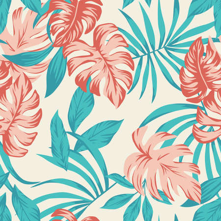 Beach cheerful seamless pattern wallpaper of vector tropical leaves of palm trees on a light yellow background 向量圖像