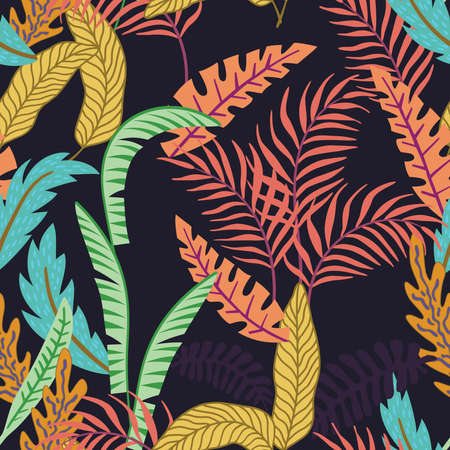 Abstract exotic composition of tropical leaves and palm trees. Beach jungle cartoon seamless pattern wallpaper black background 向量圖像
