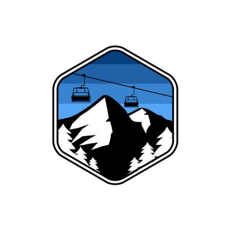 design ilustration mountain and ski lift premium vector