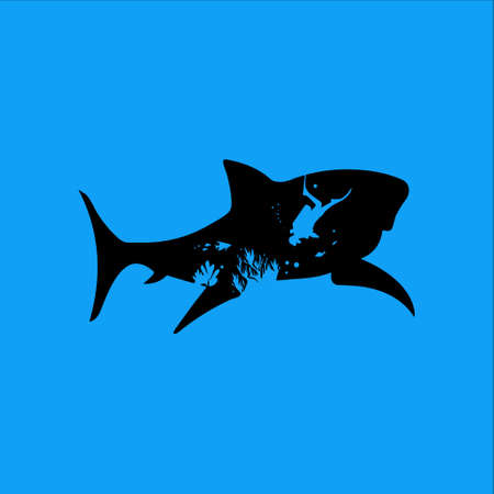 illustration of the diver's shadow in a shark