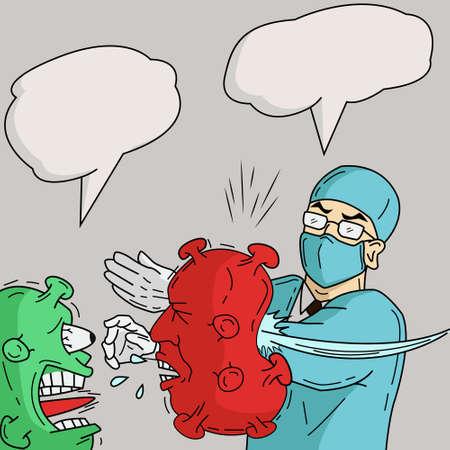 illustration vector graphic of doctor slap virus