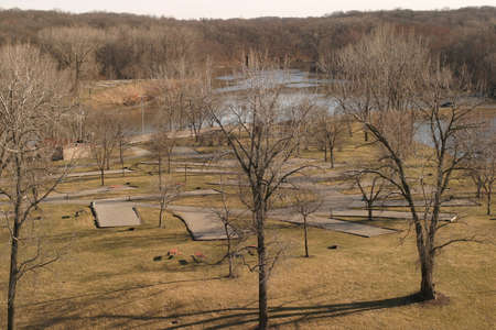 Empty Campground - Mid-March sunset on an empty campground, Coralville, Iowa Banco de Imagens