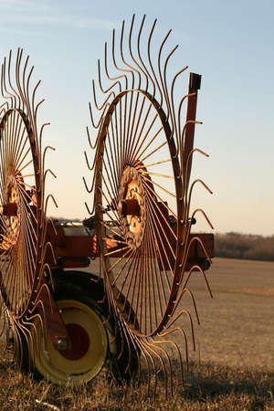 Wheel Rakes - close-up  - SE Iowa sunset Stock Photo - 493990