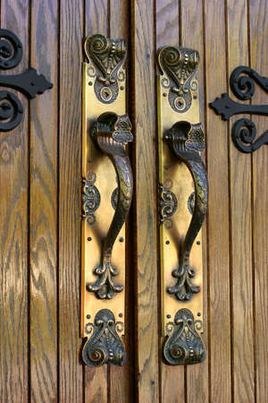 Ornate Brass Door Handles - Close-up, Church entrance, SE Iowa 免版税图像