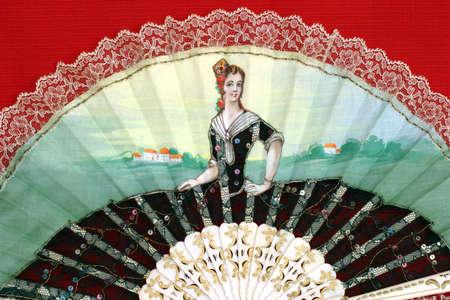 Fancy Fan - close-up - Handpainted on cotton fabric