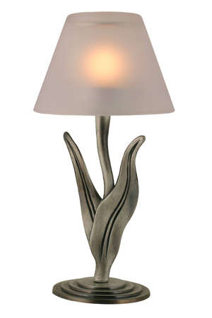 Tealight Candleholder - Decorative pewter candelabra with lit tealight candle. Stock Photo - 832845