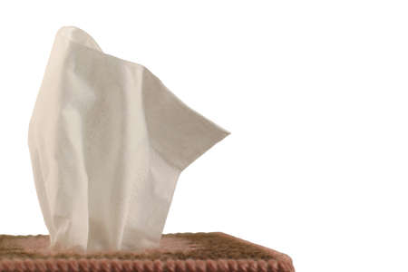 facial tissue: Tissue Box - white background - close-up of paper handkerchief in a decorative plastic canvas box isolated on white. Stock Photo