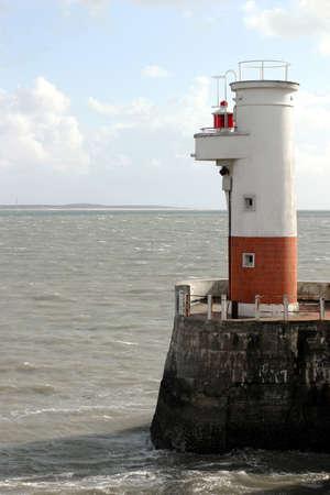 Small Lighthouse - Port of Royan on the Atlantic Coast, France. Stock Photo