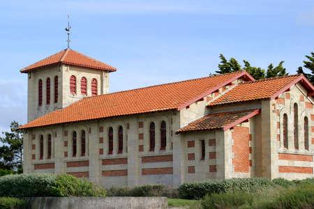 Romanesque Church - Atlantic seaside village LAm�lie-sur mer, Gironde, France.