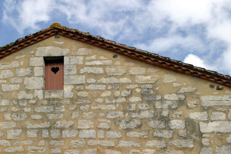 frac12: Door with - Traditional Charente-style house with a wooden attic door
