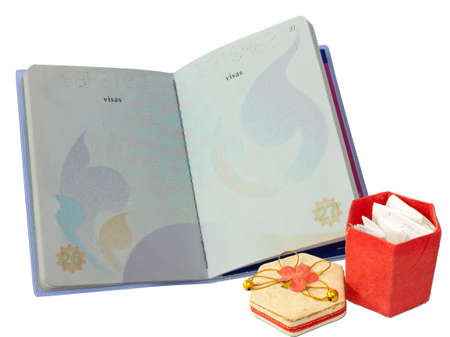 passport and red box on white background. Stock Photo - 10829814
