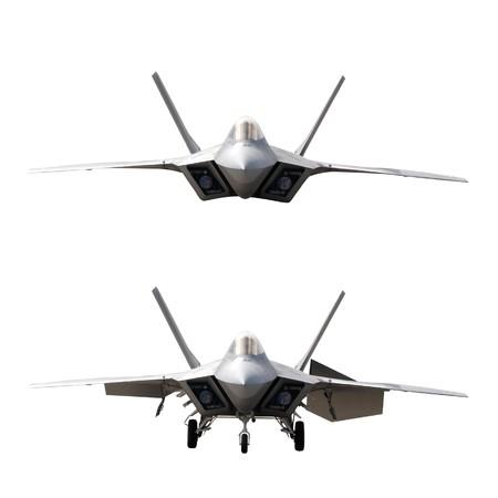 avion de chasse: Un avion militaire isol�: dans le ciel et sur le terrain
