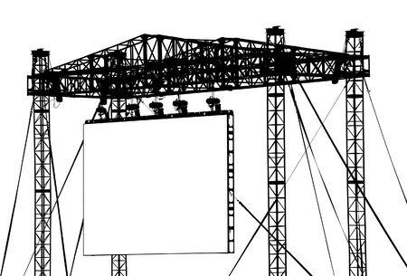 Gignatic Vector Screen (wissen). Een indrukwekkende metalen structuur ter ondersteuning van een outdoor screen.  Stock Illustratie