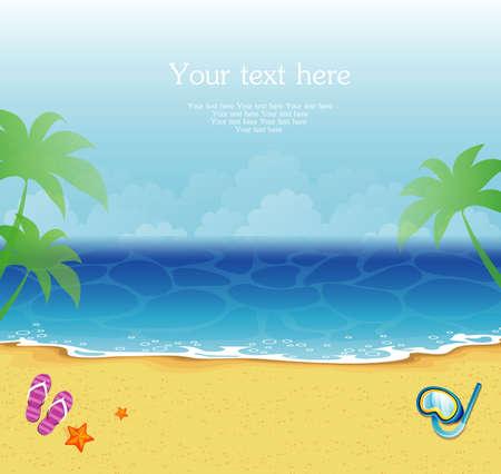sandal tree: Illustration of Summer tropical banner