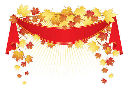 Maple leaf and ribbon Stock Vector - 14863273
