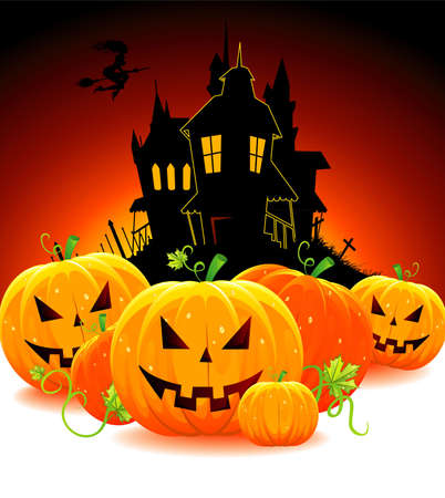 Halloween pumpkin with castle, vector Vector